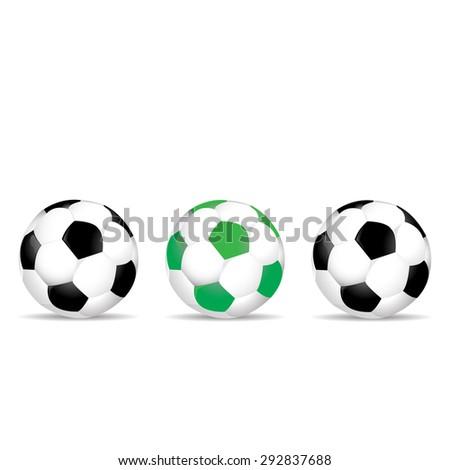 Set of colored soccer balls illustration - stock photo