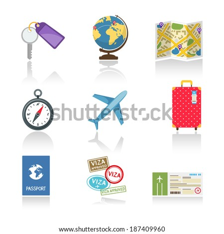 Set of colored travel icons depicting a car key  globe  map  compass  airplane  suitcase  passport  visas and a ticket illustration on white with reflection - stock photo