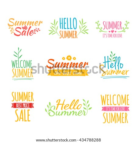 Set of colored vintage retro logos, icons, stickers with the text of the summer and floral elements. Pastel colors.