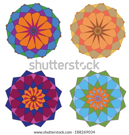 Set of colorful and funky circular ornamental elements. - stock photo