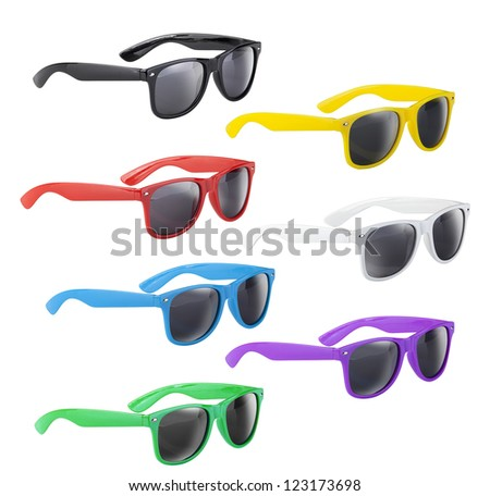 Set of colorful and funny sunglasses - stock photo