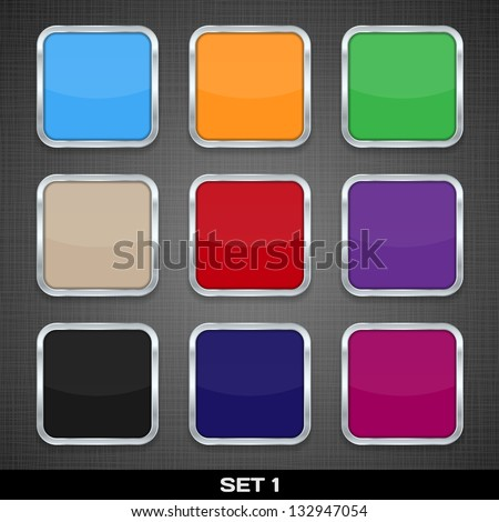 Set Of Colorful App Icon Templates, Buttons, Backgrounds. Set 1. Raster Version