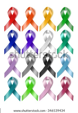 Set of colorful awareness ribbons isolated on white background.  - stock photo