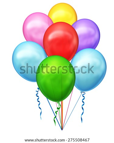 Set of colorful balloons  isolated on a white background