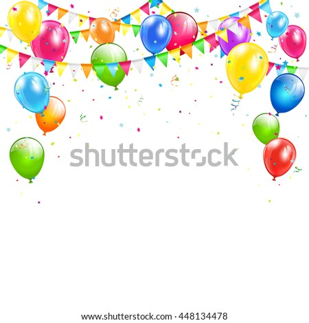 Set of colorful balloons, multicolored pennants and confetti on white backdrop, Happy Birthday background, illustration.