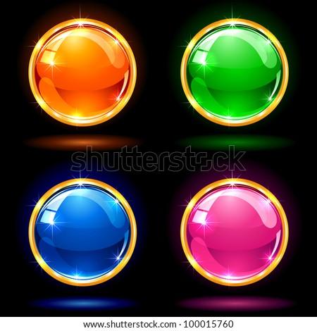 Set of colorful balls on dark background, illustration - stock photo