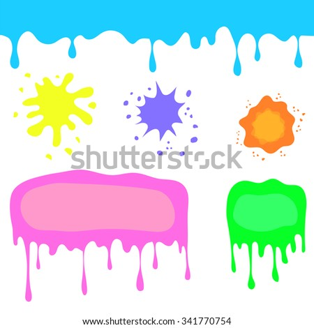 Set of Colorful Blots Isolated on White Background. Colorful Watercolor Stains and Splashes. Colored Splatters Collection - stock photo
