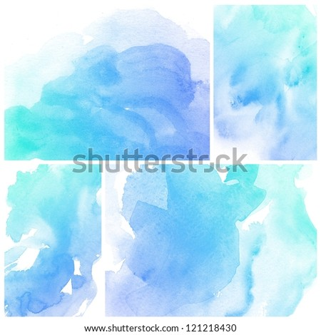 Set of colorful blue Abstract watercolor art background hand paint