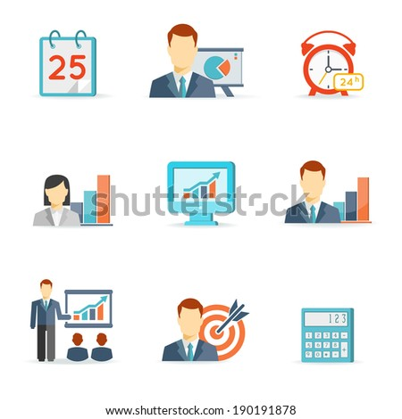 Set of colorful business icons including a calendar  alarm clock  bar graphs  monitor with a chart  presentation  target and calculator isolated on white - stock photo