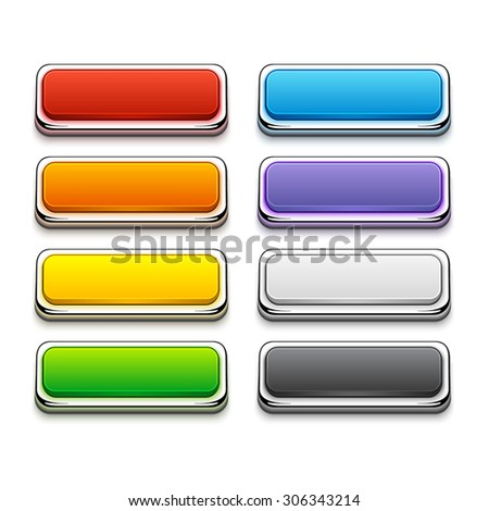 Set of Colorful Buttons in Chrome Frames. Buttons for different purpose