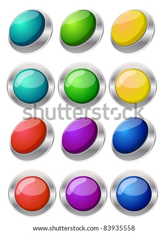 Set of colorful buttons. Raster version.