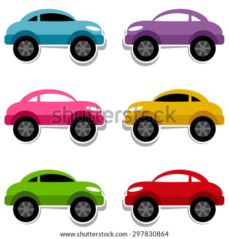 Set of colorful cars. Raster version - stock photo