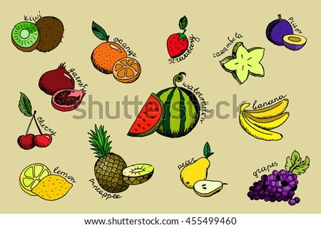 Set of colorful cartoon fruit icons. Hand drawn stock illustration.