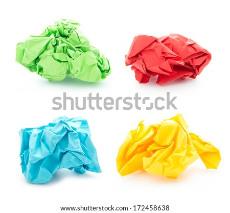 set of colorful crumpled paper balls isolated on white background