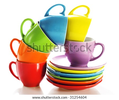 Set of colorful cups - stock photo