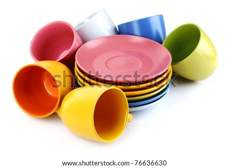 Set of colorful cups on white background