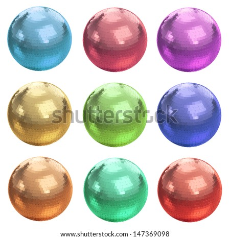 Set of colorful disco balls isolated on white with clipping path - stock photo