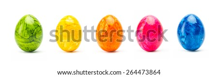 set of colorful easter eggs in a line isolated on white background