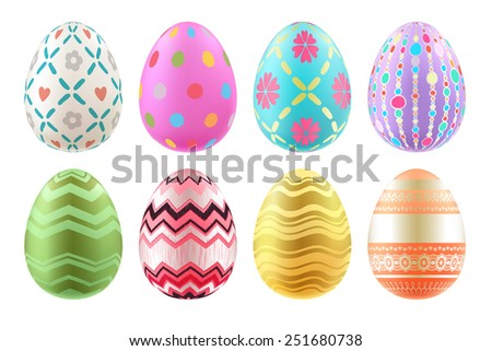 Set of colorful Easter eggs in bright colors. Realistic eggs, decorated with waves, dots, lines and flowers. - stock photo
