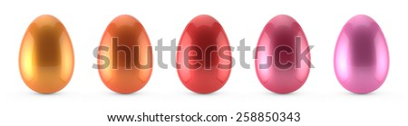 set of colorful easter eggs isolated on white background