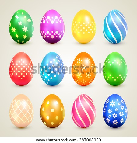 Set of colorful Easter eggs with decorative patterns, illustration. - stock photo