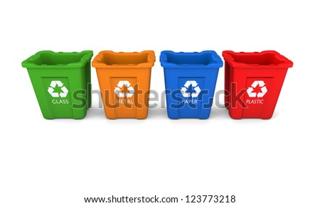 Set of colorful empty recycle bins isolated on white background