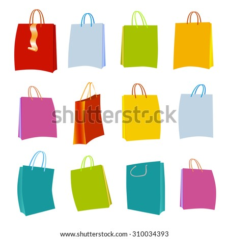 Set of Colorful Empty Shopping Bags Isolated in White.