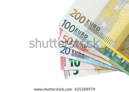 set of colorful euro banknotes isolated on white