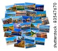 Set of colorful European travel photos isolated on white background - stock photo