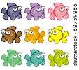 Set of Colorful Fish - Cartoon Cute Design - stock photo