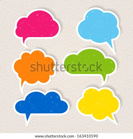 Set of colorful frayed speech bubbles