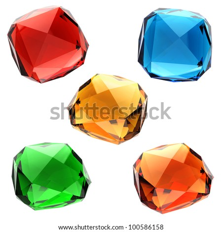 Set of colorful gems - stock photo
