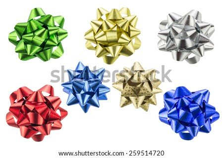 set of colorful gift bows isolated on white background - stock photo