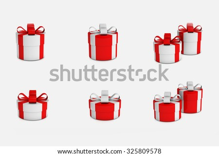 Set of colorful gift boxes with ribbons. illustration - stock photo