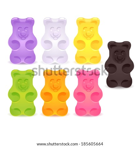 Set of colorful gummy bears. Raster version. - stock photo