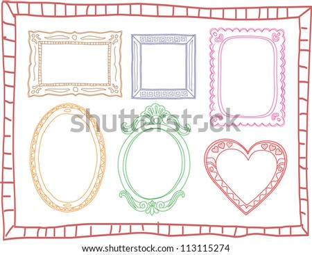 Set of colorful hand-drawn doodle frames - stock photo