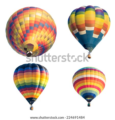 Set of colorful hot air balloon isolated on white background - stock photo