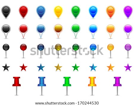 Set of colorful location pointers, pins, stars, needles, speech bubbles, raster copy - stock photo