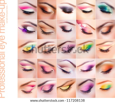 set of colorful make-up on closed eyes - vibrant colors very clean - stock photo