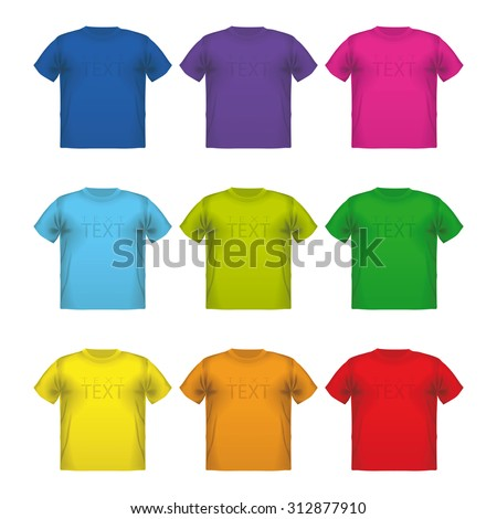 Set of colorful male t-shirts  wear printing advertisement isolated clothing retail cloth  - stock photo