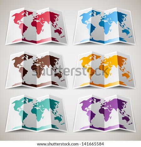 Set of colorful Maps of the World. Vector version (eps) also available in gallery - stock photo
