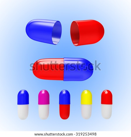 Set of colorful medical capsules open and close on blue background