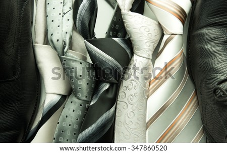set of colorful men's ties isolated on white background - stock photo