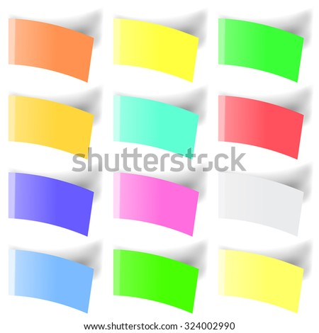 Set of Colorful Notes Isolated on White Background