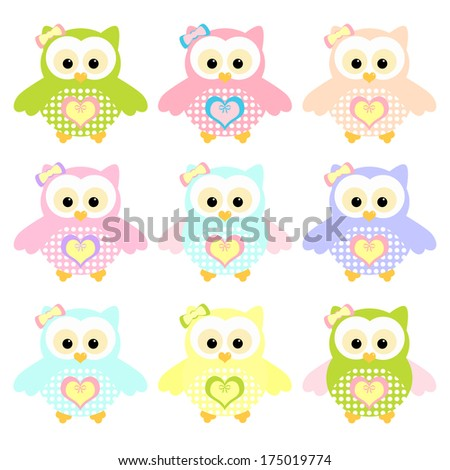 Set of Colorful Owl. Illustration of colorful owls with nine color combinations. Seamless patterns.
