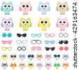 Set of colorful owls with sunglasses. Raster version - stock photo