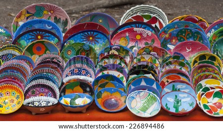 set of colorful painted bowls for sale in Mexican market & Set Colorful Painted Bowls Sale Mexican Stock Photo (Royalty Free ...
