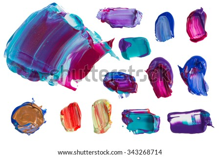 Set of colorful painting  smears isolated on the white background - stock photo