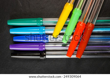 Set of colorful pens for office, constructor and schools - stock photo