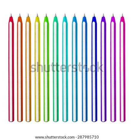 Set of colorful pens on white background